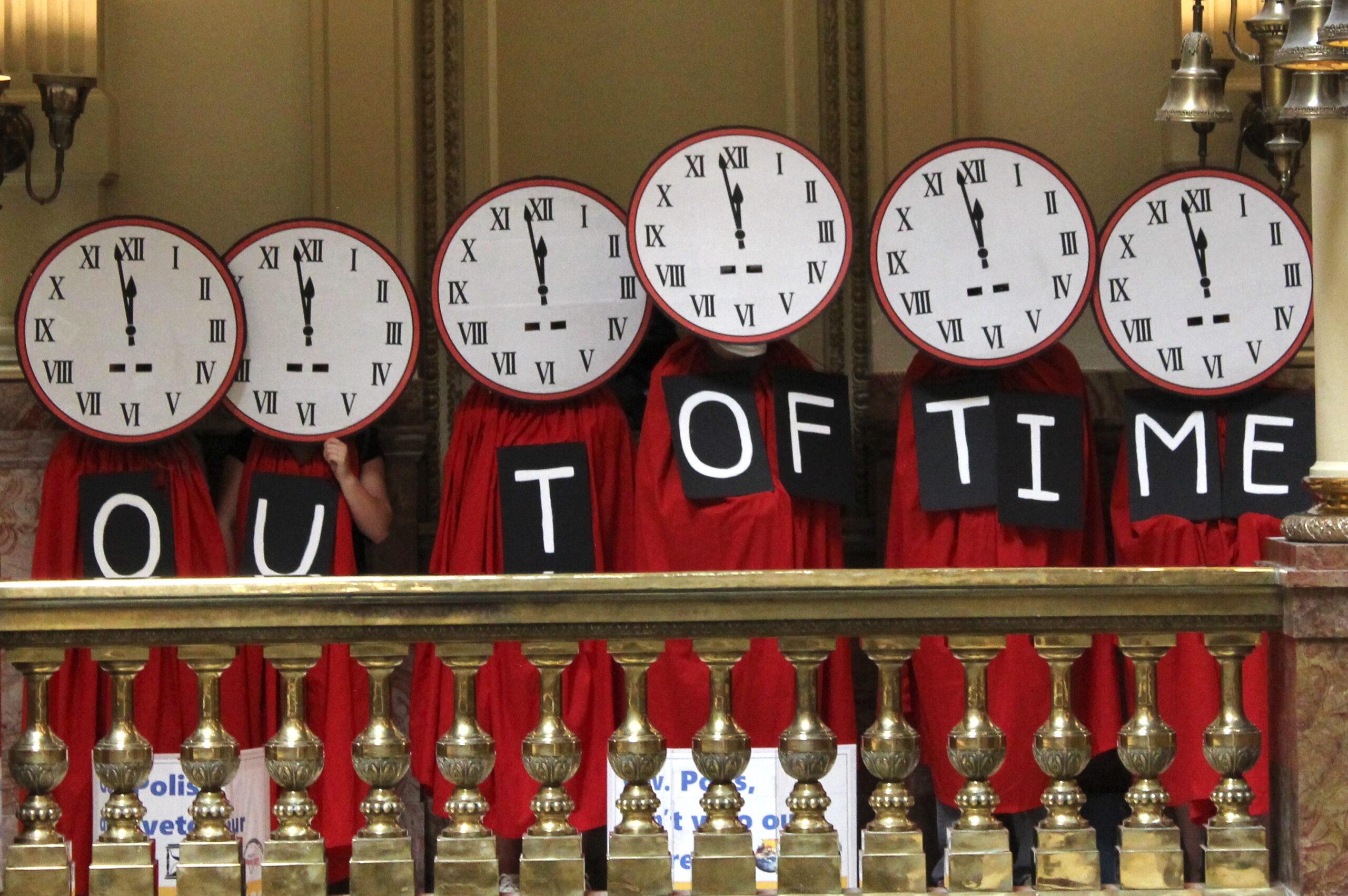 clock protesters