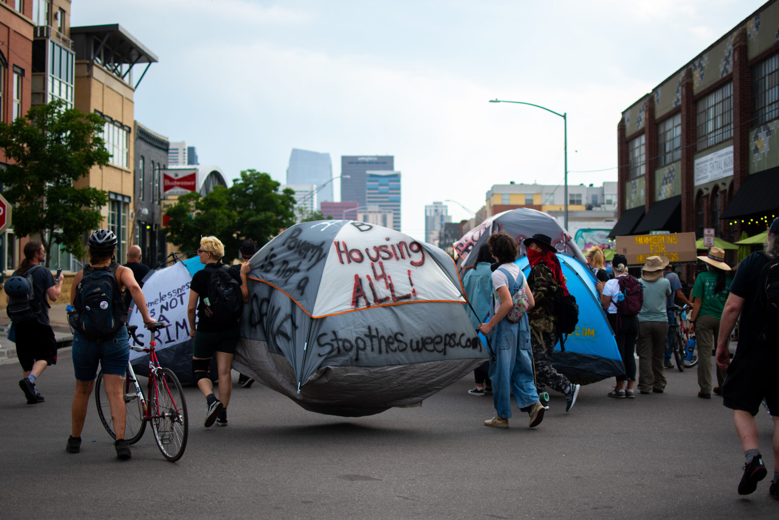 Homeless advocates protest city's camping ban during MLB All-Star Game