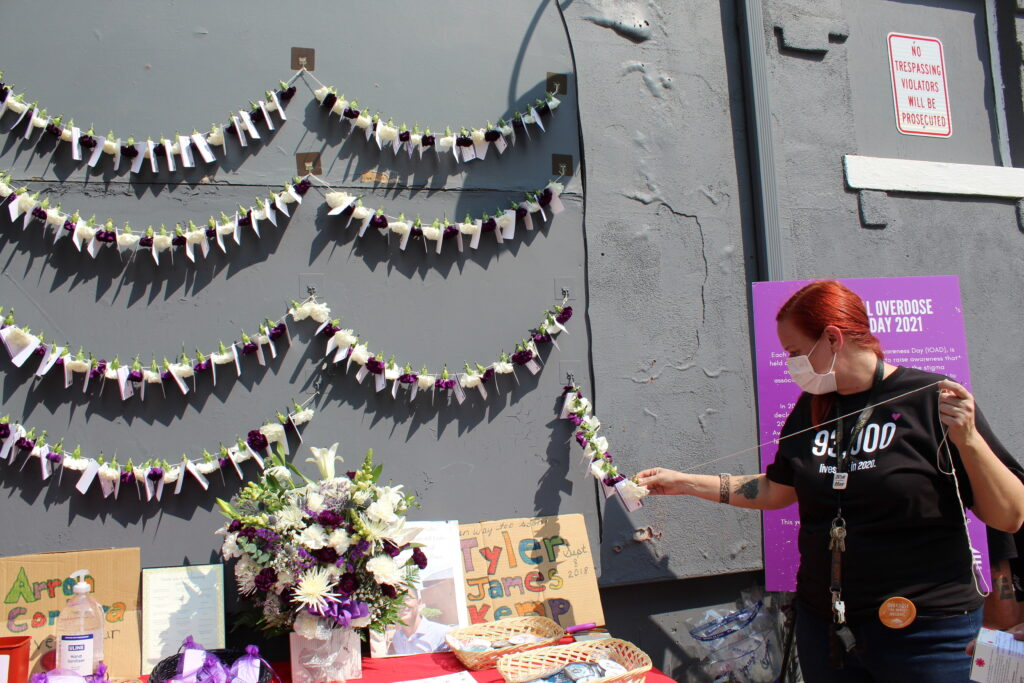 flower chain with names of people lost to overdose