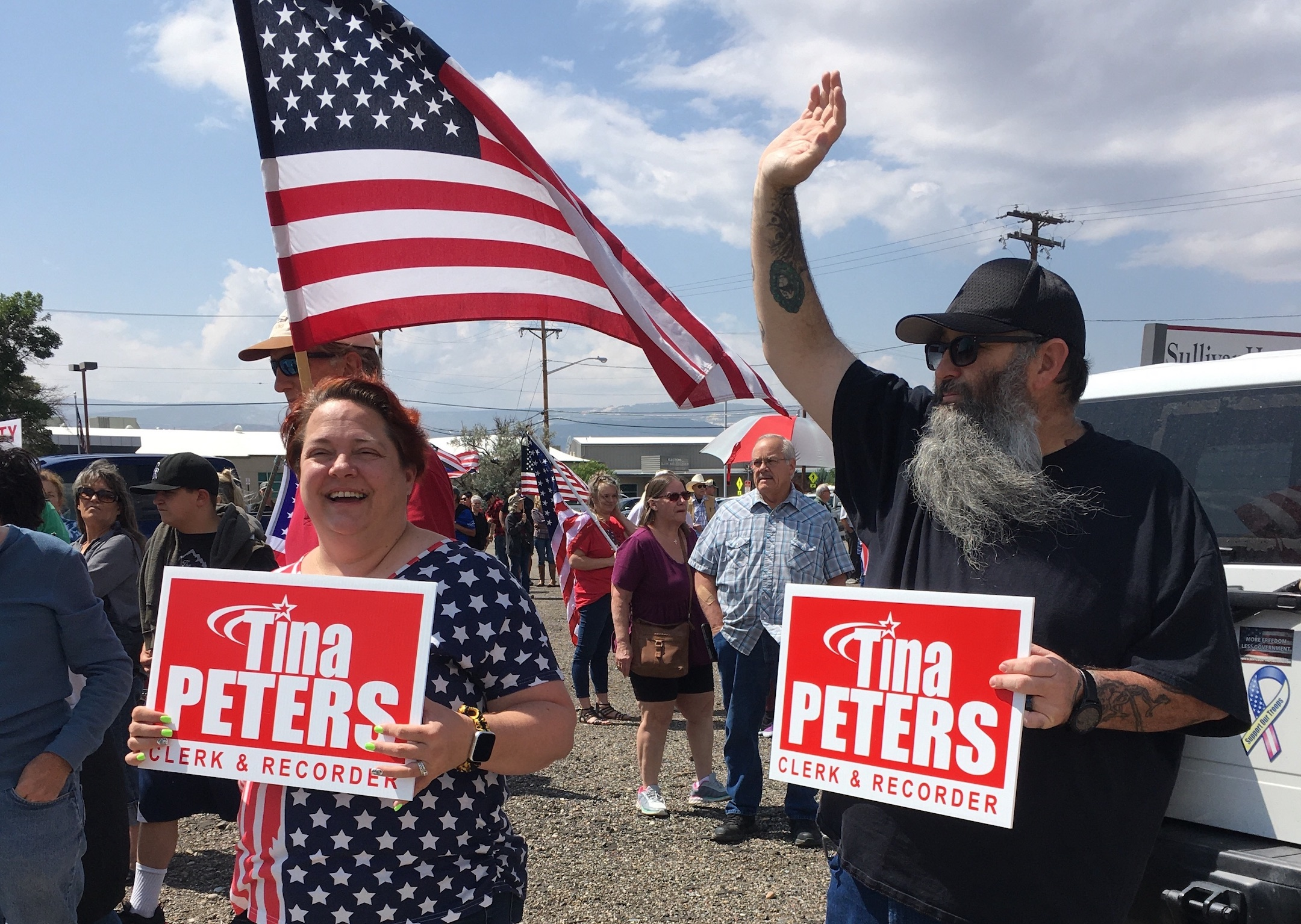 Tina Peters supporters rally in Grand Junction